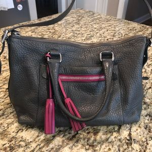 Gray Coach handbag